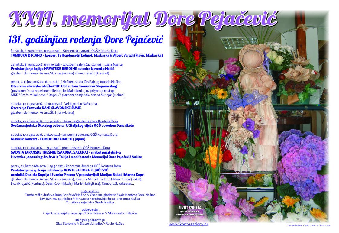 Najavljujemo XXII. Memorijal Dore Pejačević